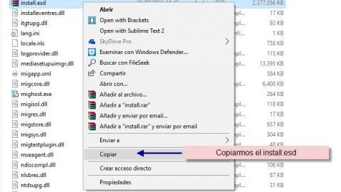 Como extraer el archivo install.wim de install.esd