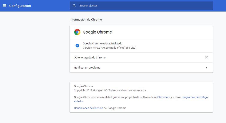 Imagen de la actualización de Google Chome